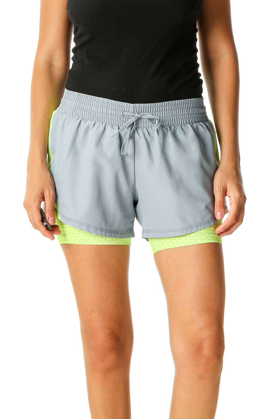 Beige Colorblock Activewear Shorts Front