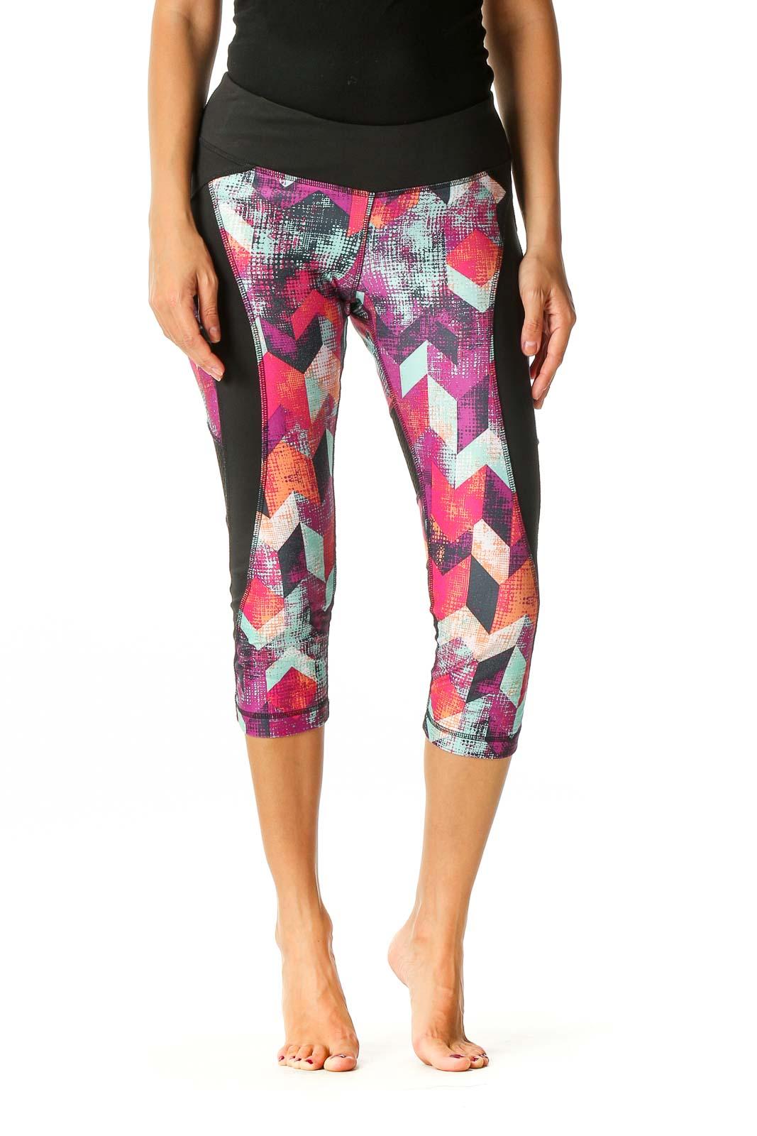 Black Geometric Print Activewear Capri Leggings Front