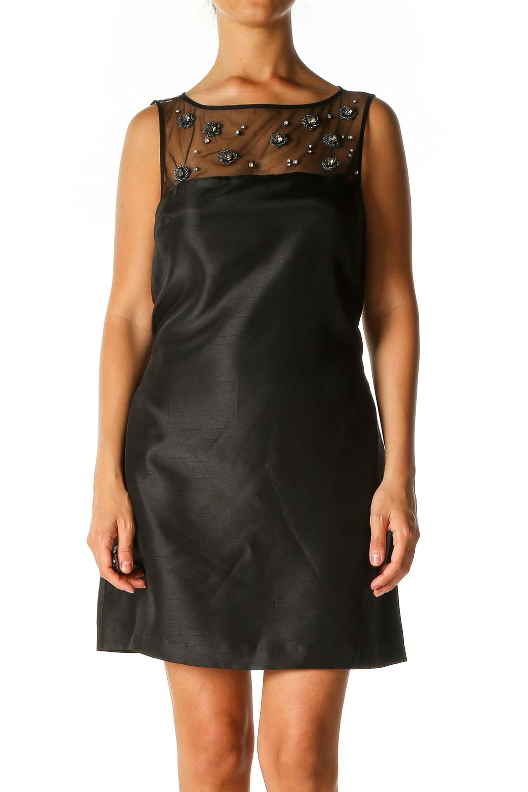 Black Solid Semiformal A-Line Dress Front
