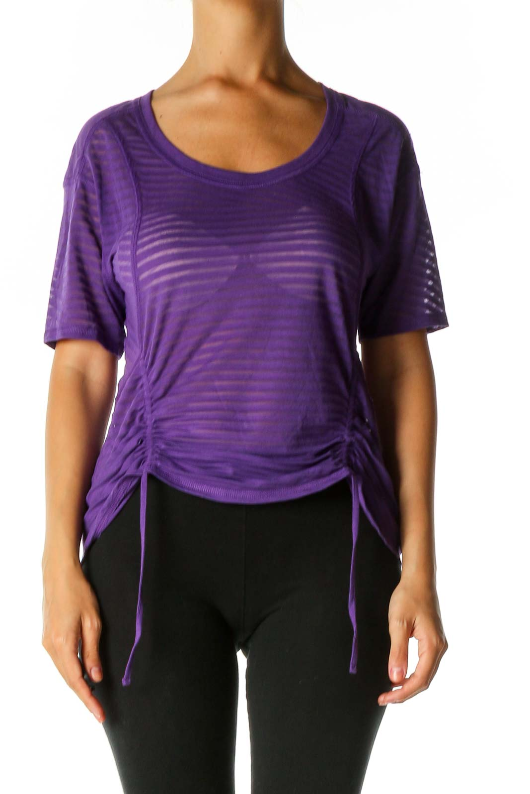 Purple Striped Activewear T-Shirt Front