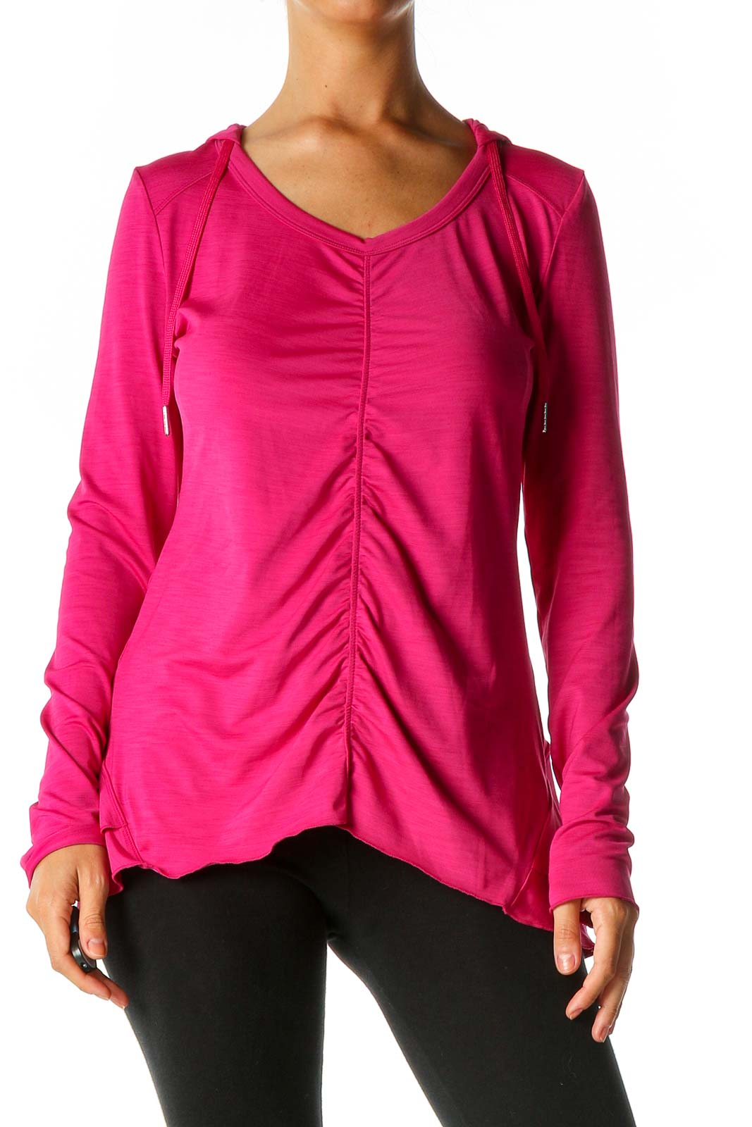 Pink Solid Activewear Top Front
