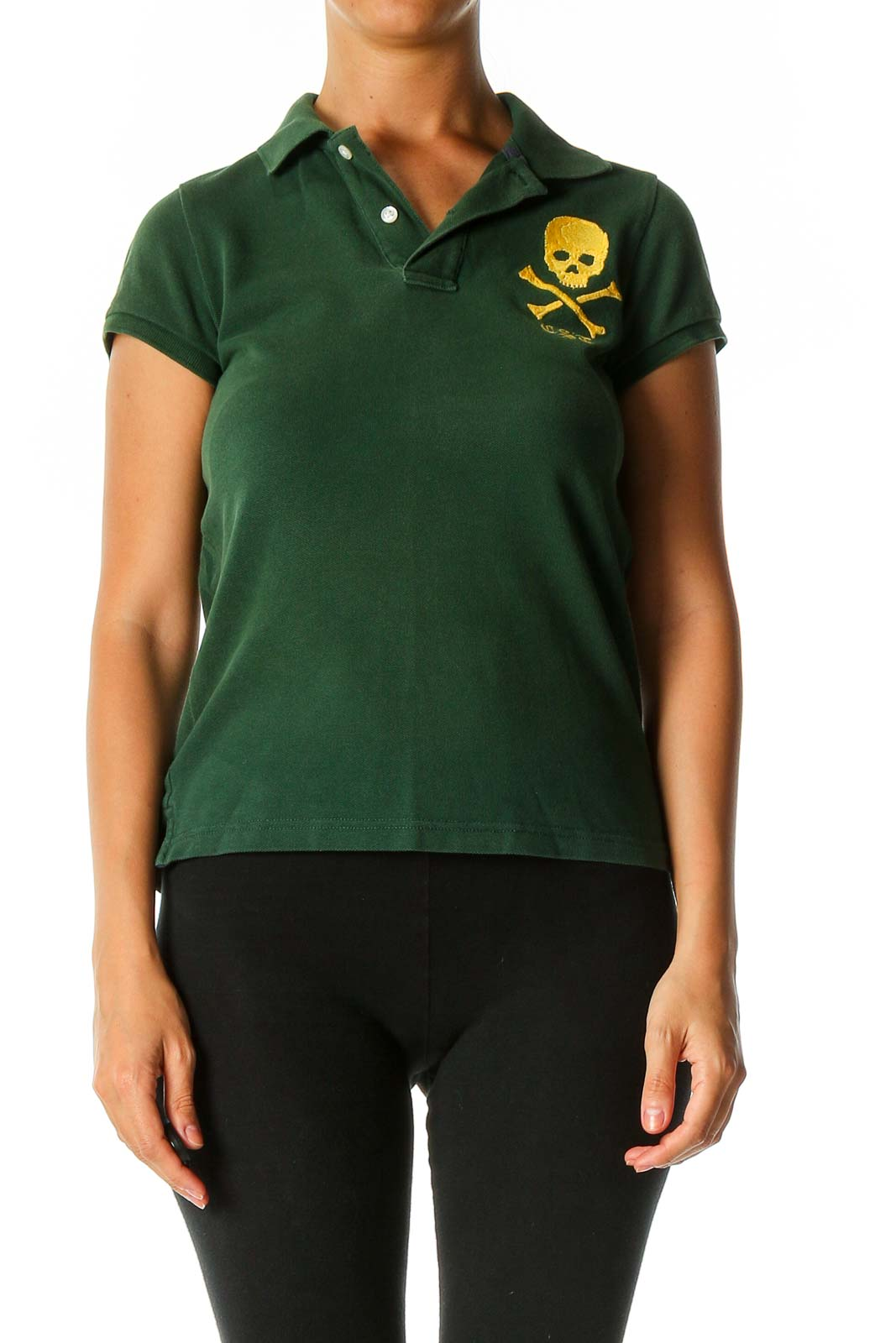 Green Solid Casual Polo Shirt Front