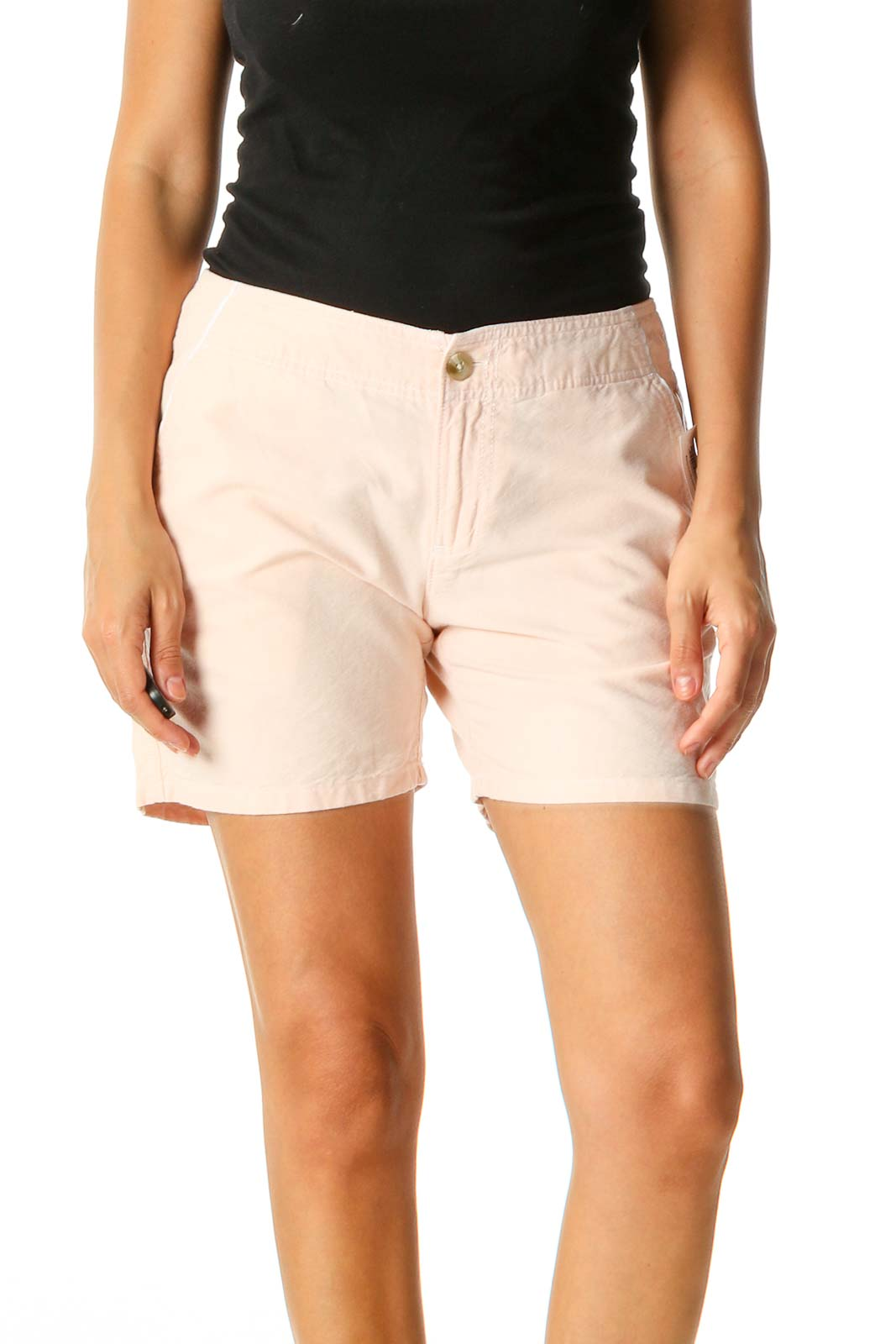 Beige Solid Sporty Shorts Front