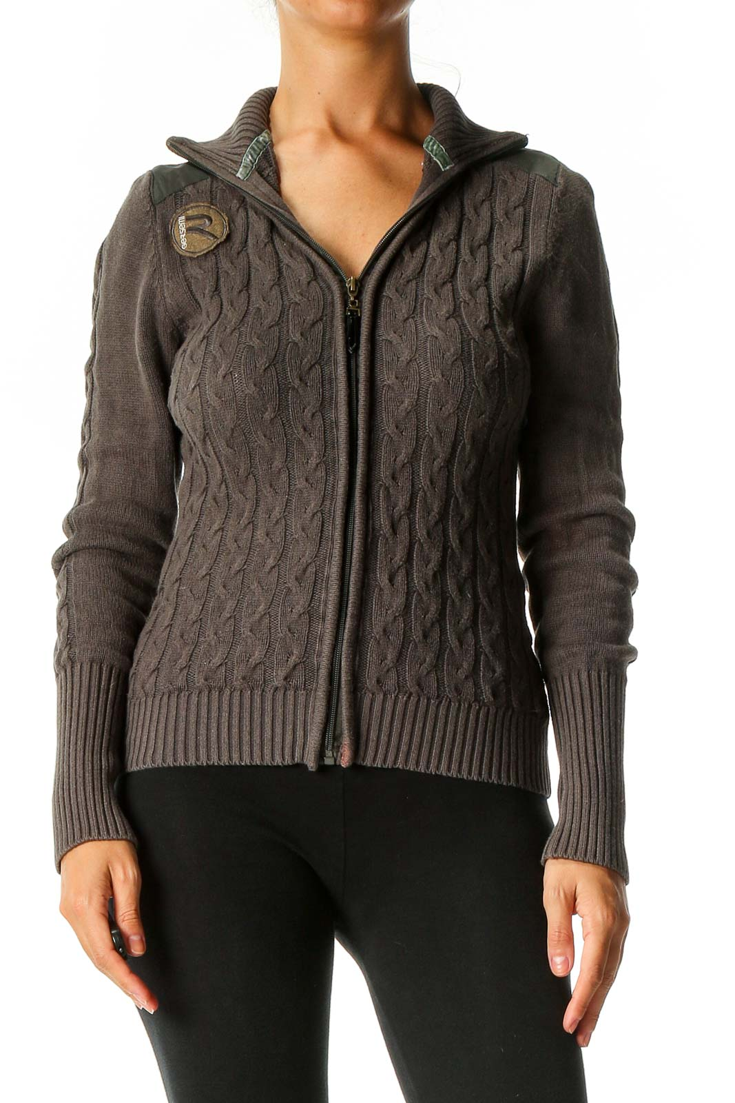 Brown Solid Retro Sweater Front