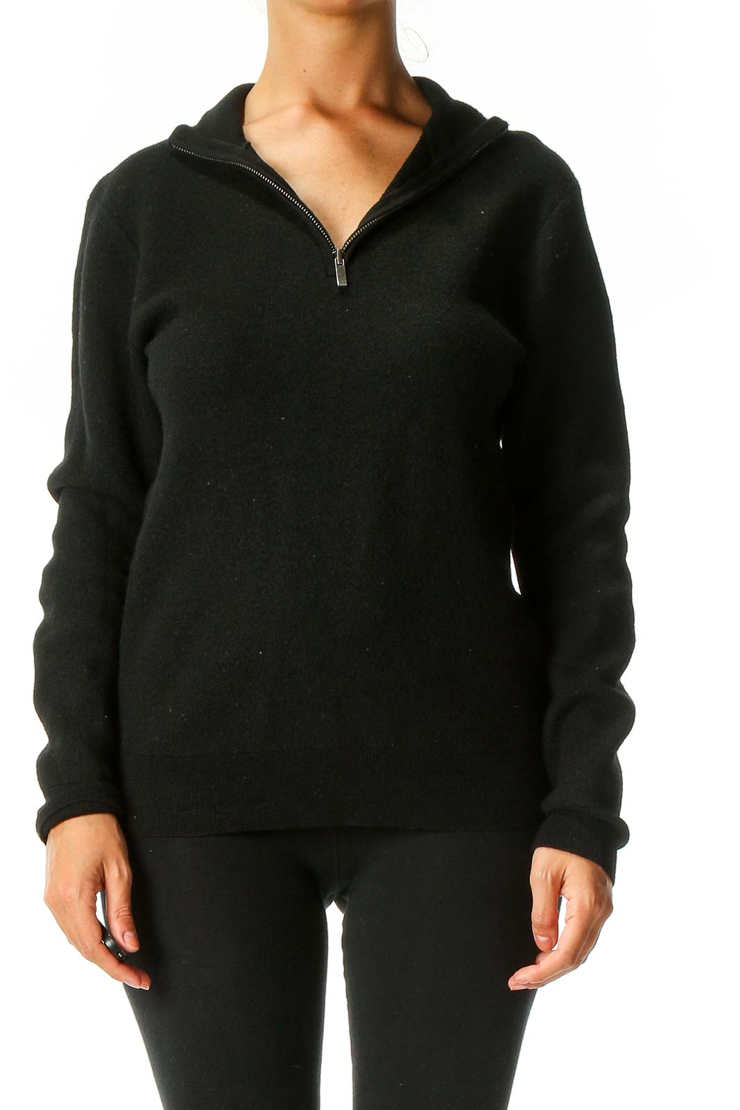 Black Solid Sweater Front