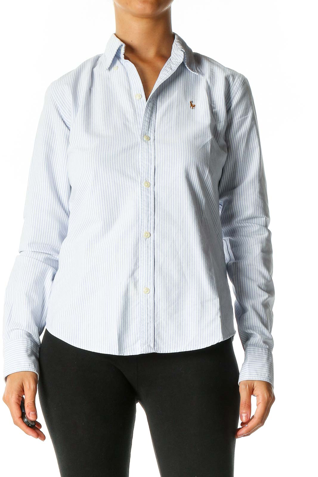 White Striped Formal Shirt Front