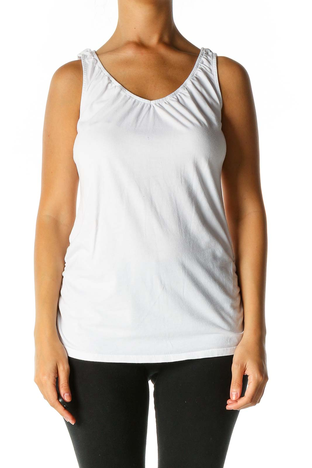 White Solid Tank Top Front