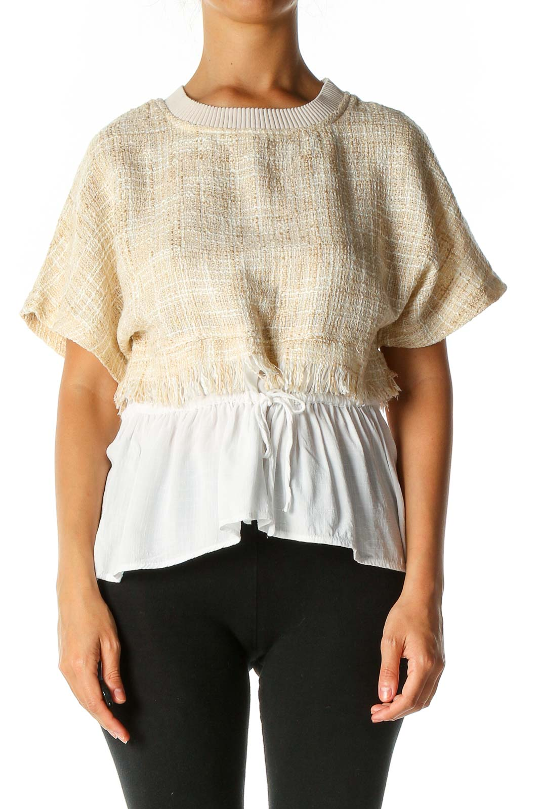 White Textured Bohemian Blouse Front