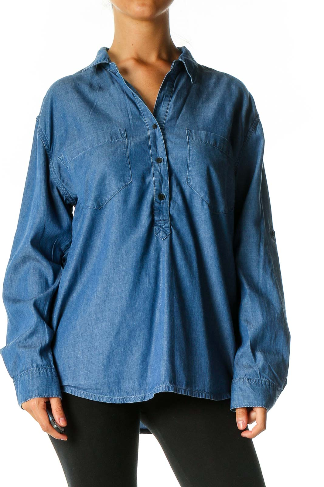 Blue Solid Casual Shirt Front