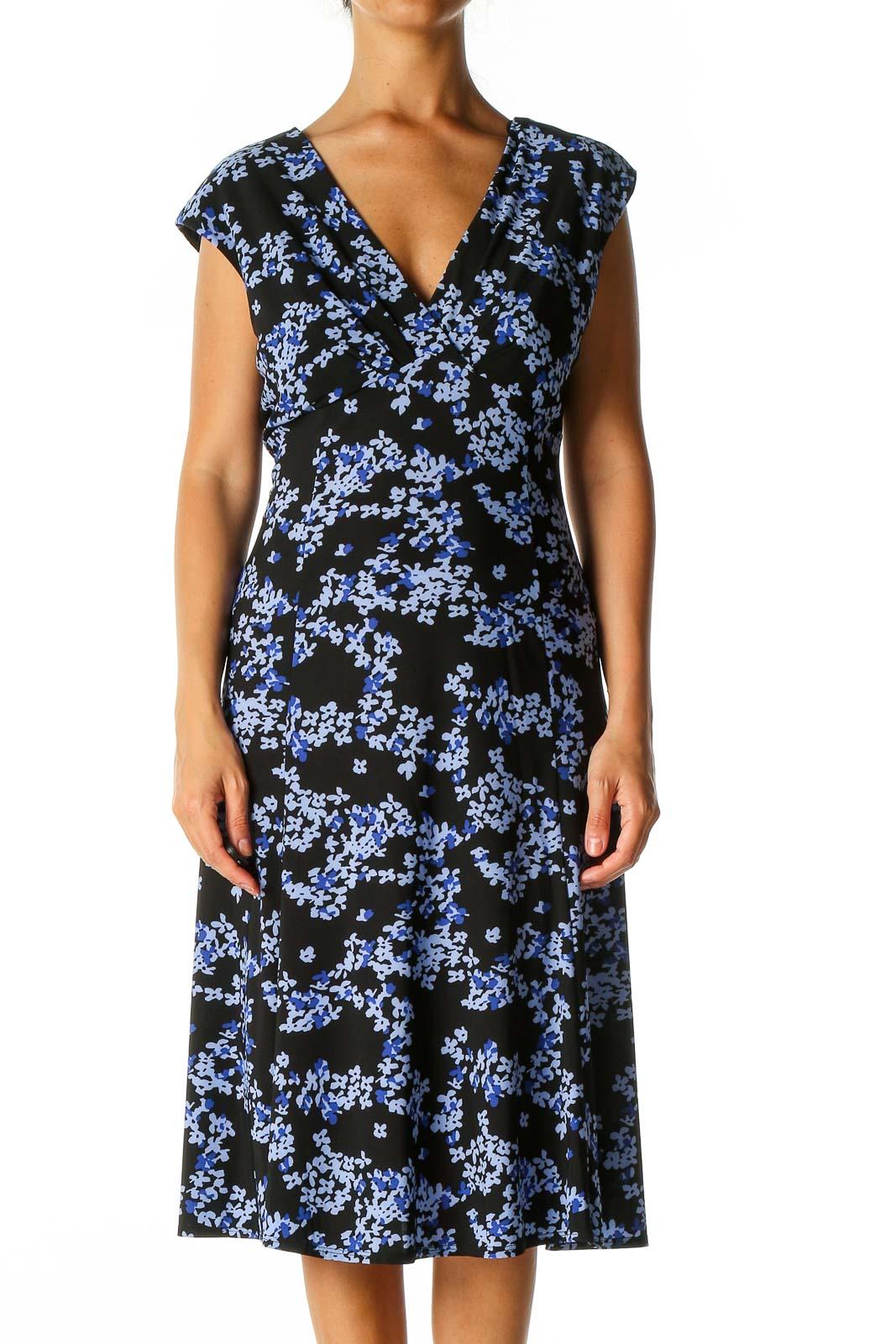 Black Floral Print Casual A-Line Dress Front