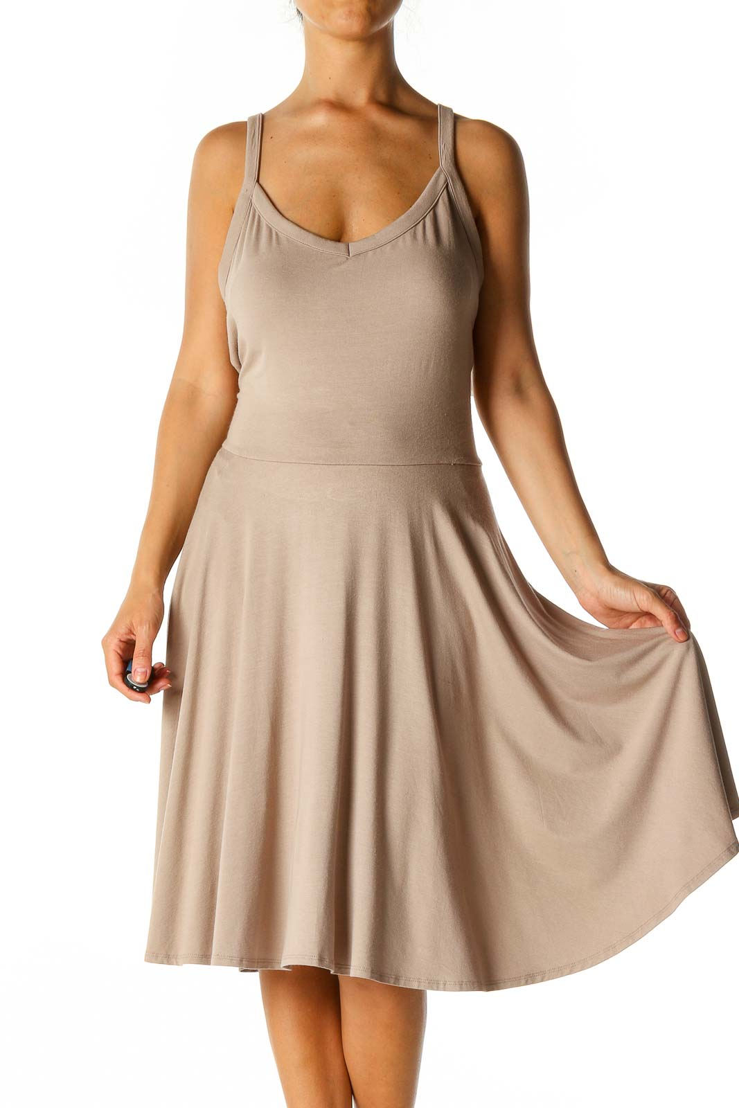 Brown Solid Casual A-Line Dress Front
