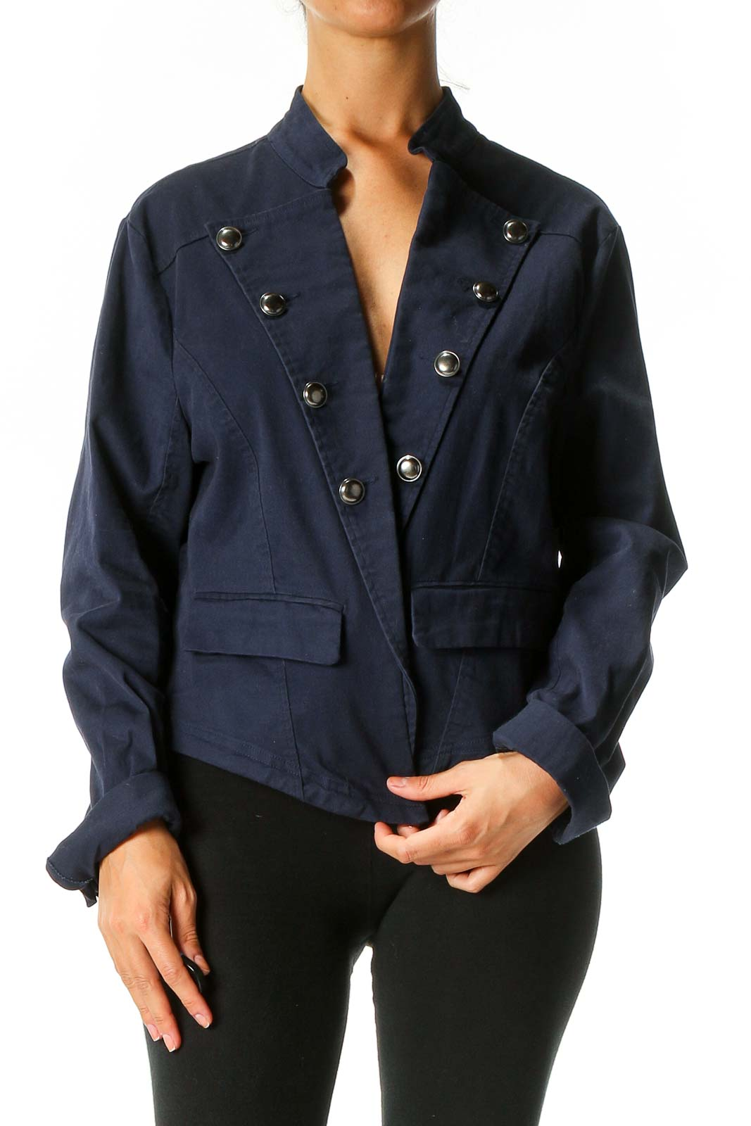 Blue Military Jacket Front