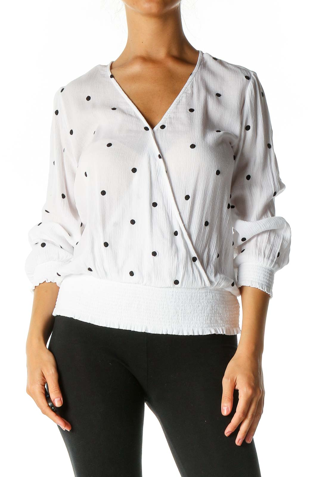 White Polka Dot Brunch Blouse Front