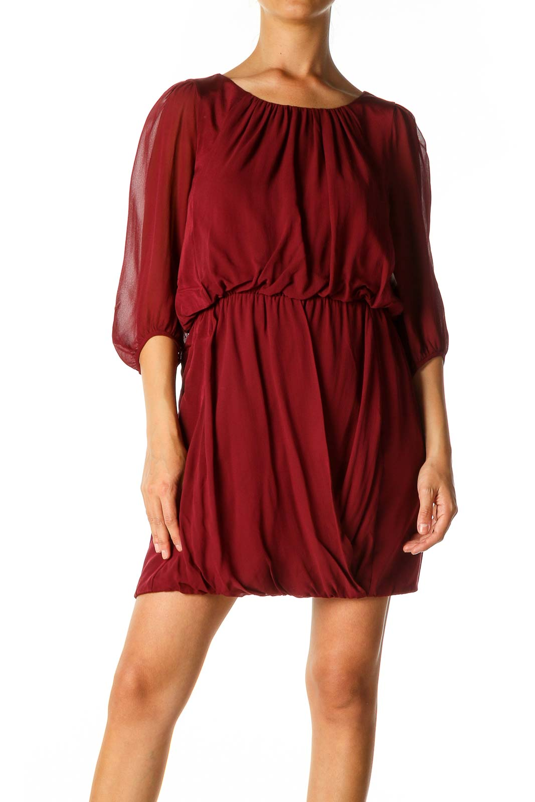 Red Solid Cocktail A-Line Dress Front