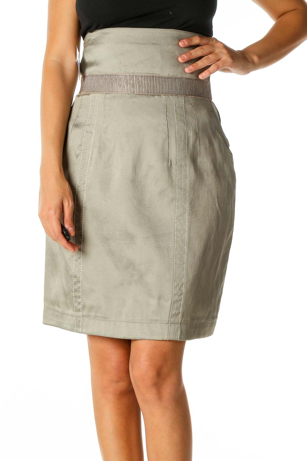 Beige Solid Chic Straight Skirt Front