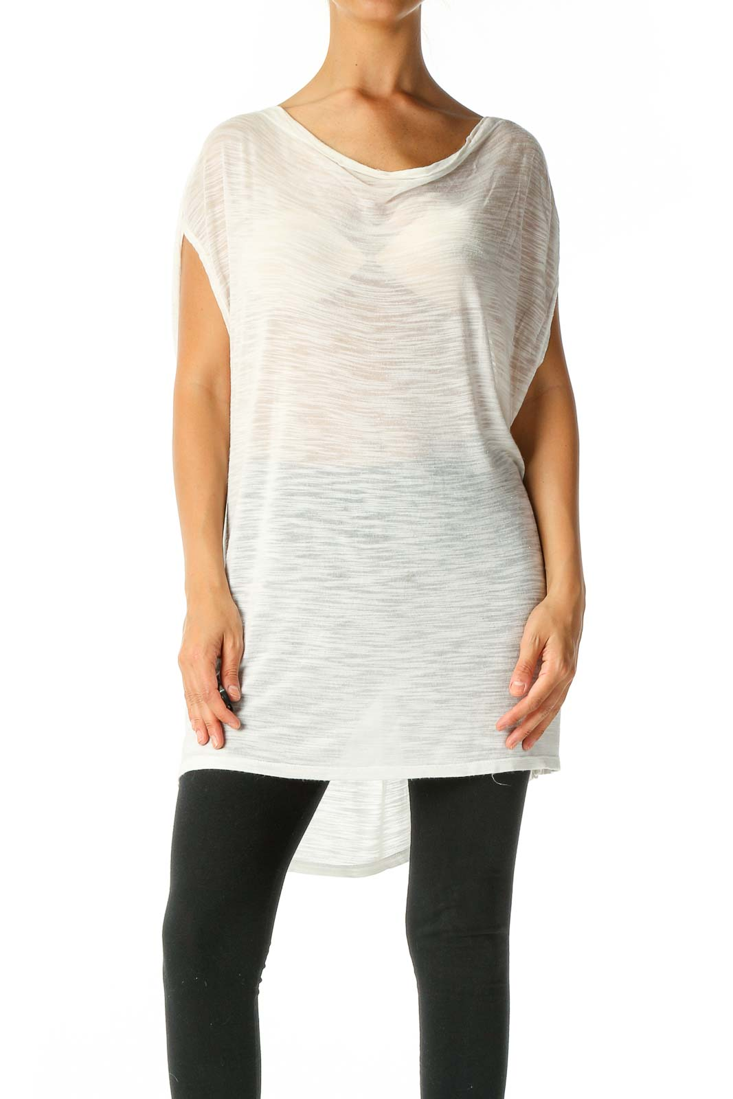 White Textured Casual T-Shirt Front