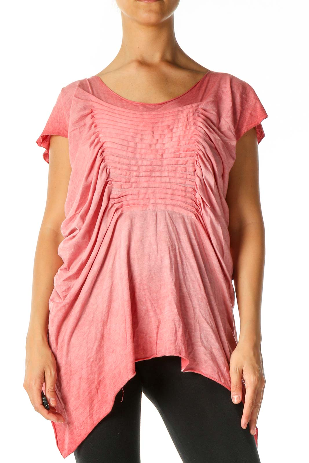 Pink Solid Retro Blouse Front
