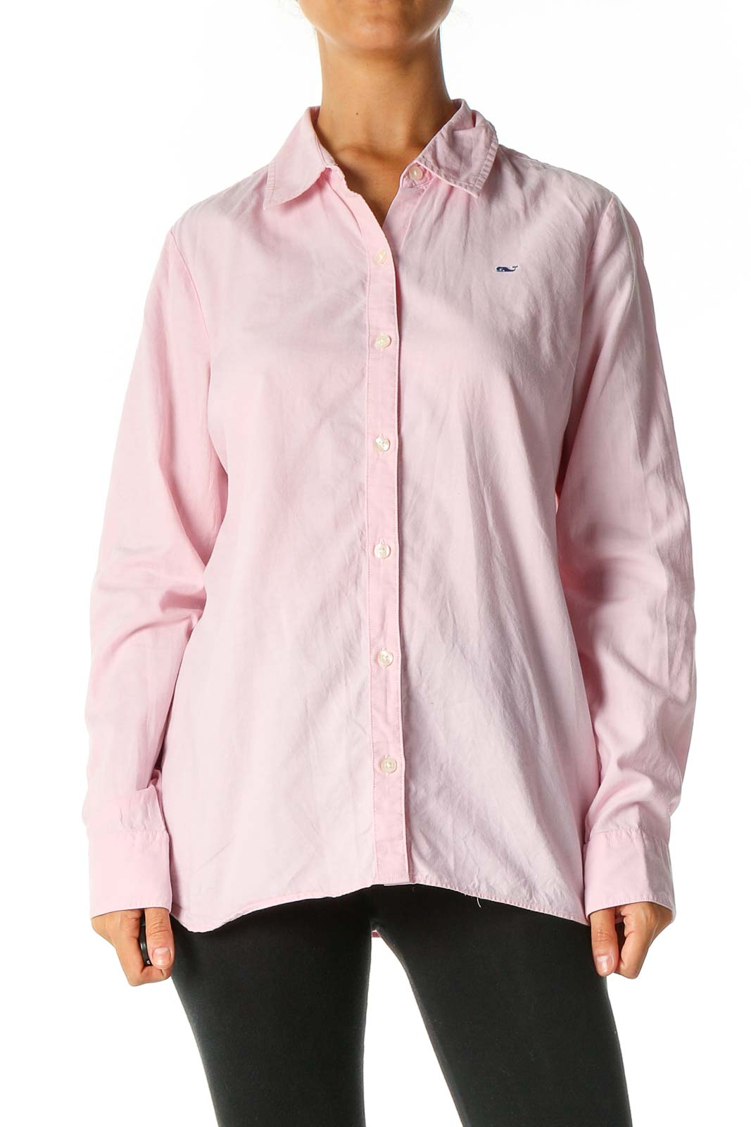 Pink Solid Work Shirt Front
