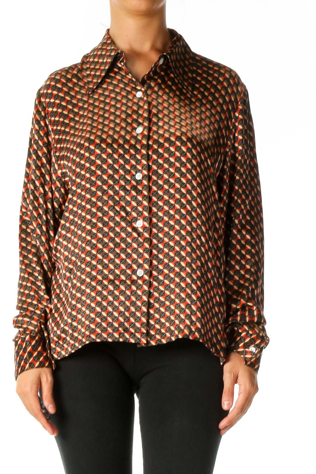 Brown Geometric Print Work Shirt Front
