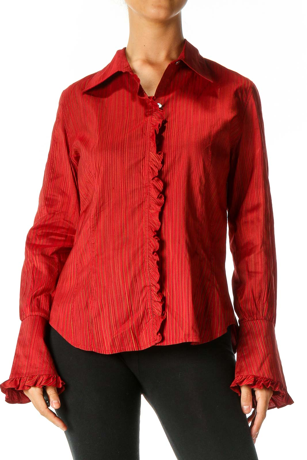 Red Striped Shirt Front