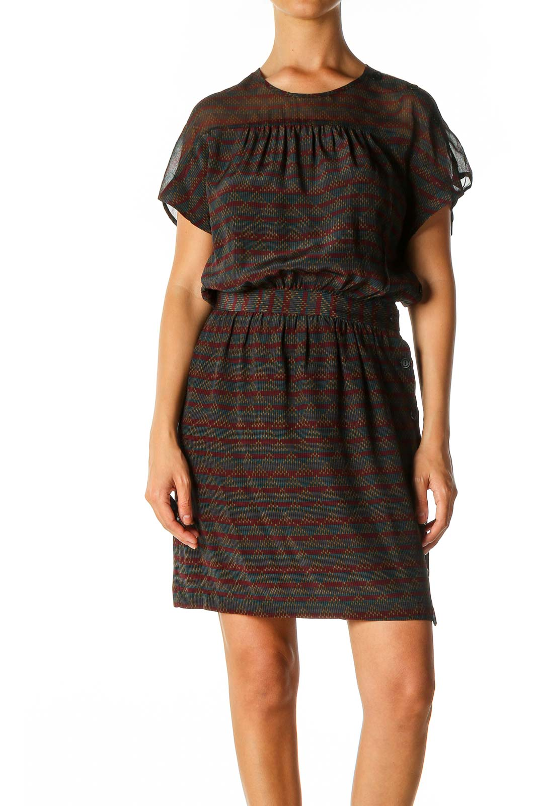 Red Geometric Print Cocktail A-Line Dress Front