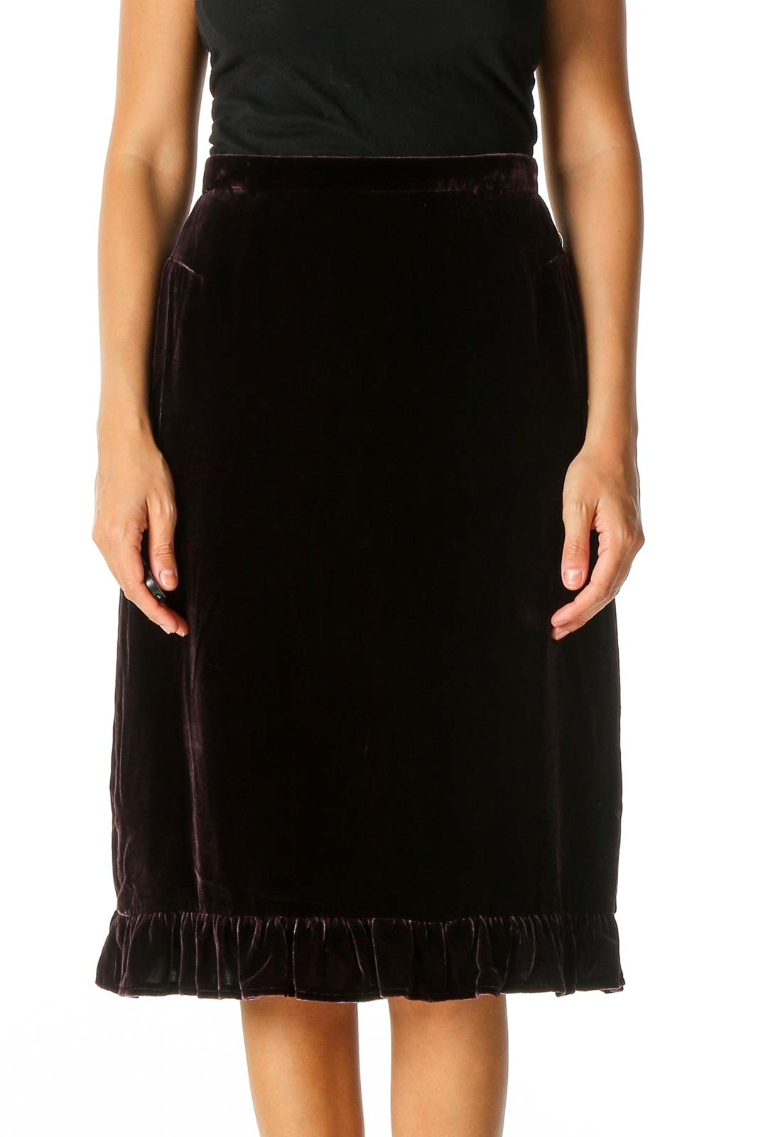 Purple Textured Classic Straight Skirt Front