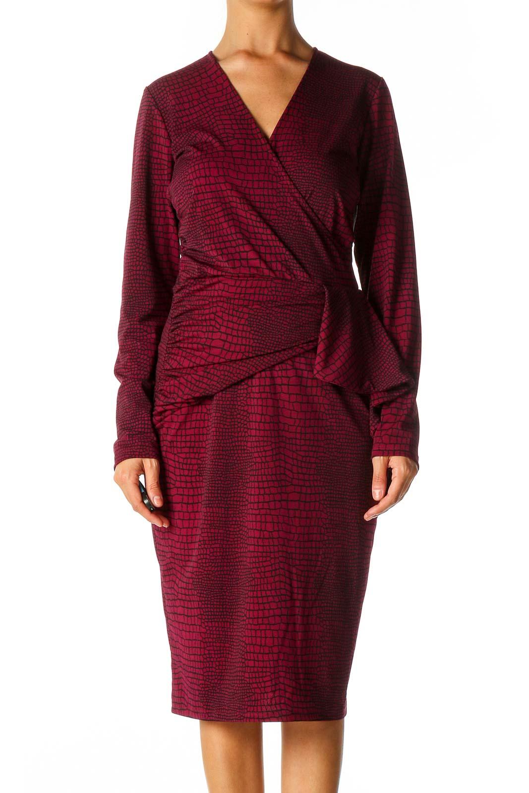Red Animal Print Retro Sheath Dress Front