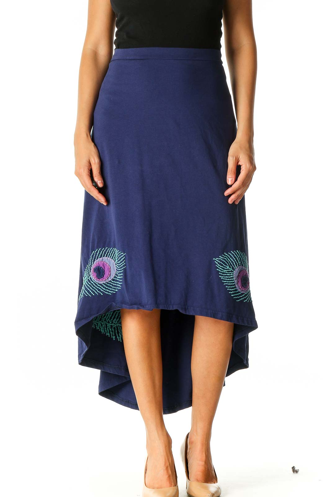 Blue Holiday Flared Skirt Front