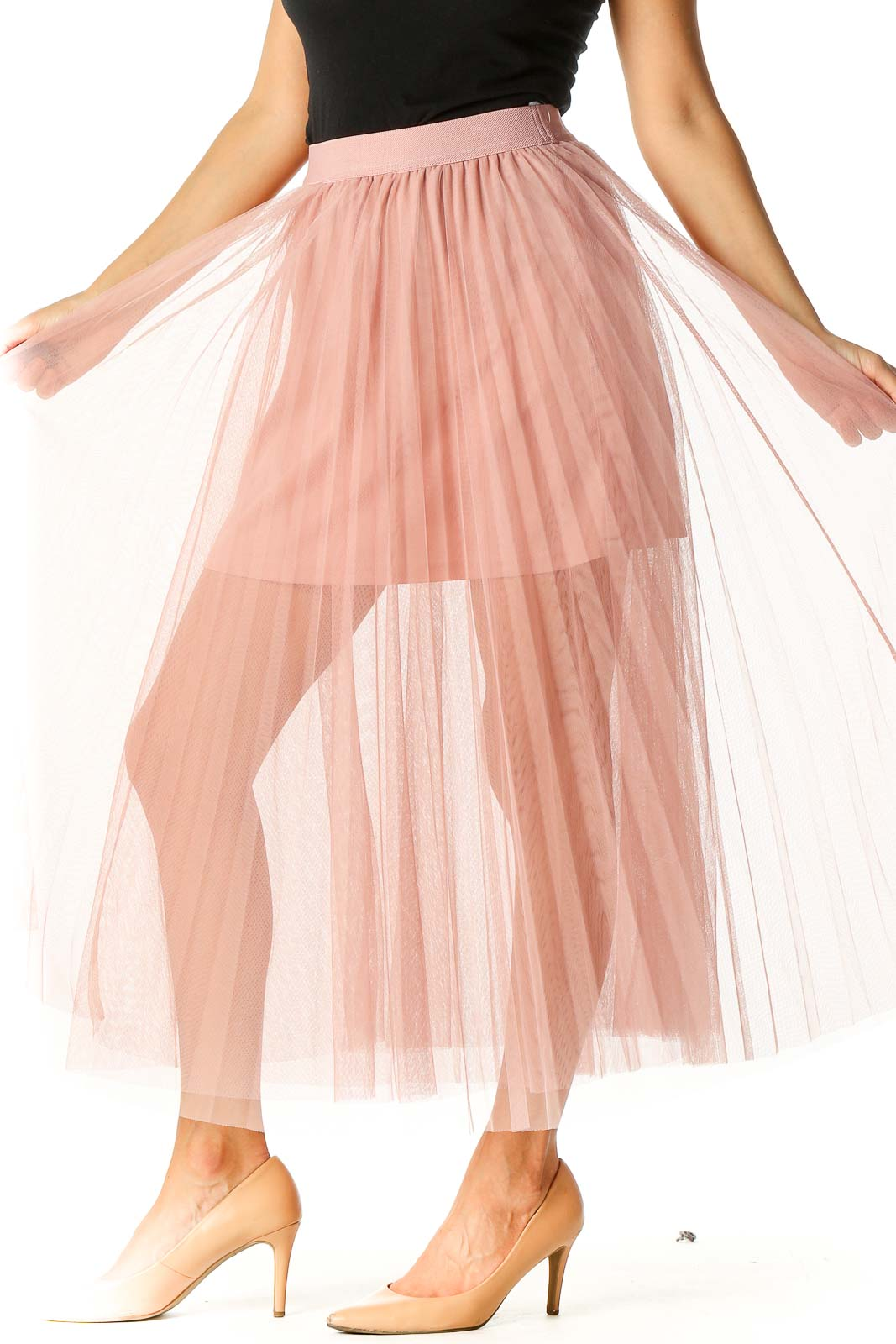Pink Solid Party Pleated Skirt Front