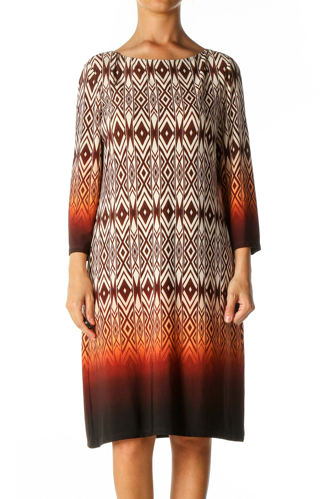 Brown Graphic Print Bohemian Shift Dress Front
