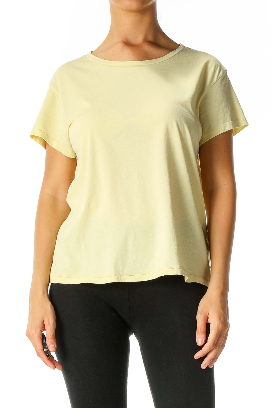 Yellow Solid Casual T-Shirt Front