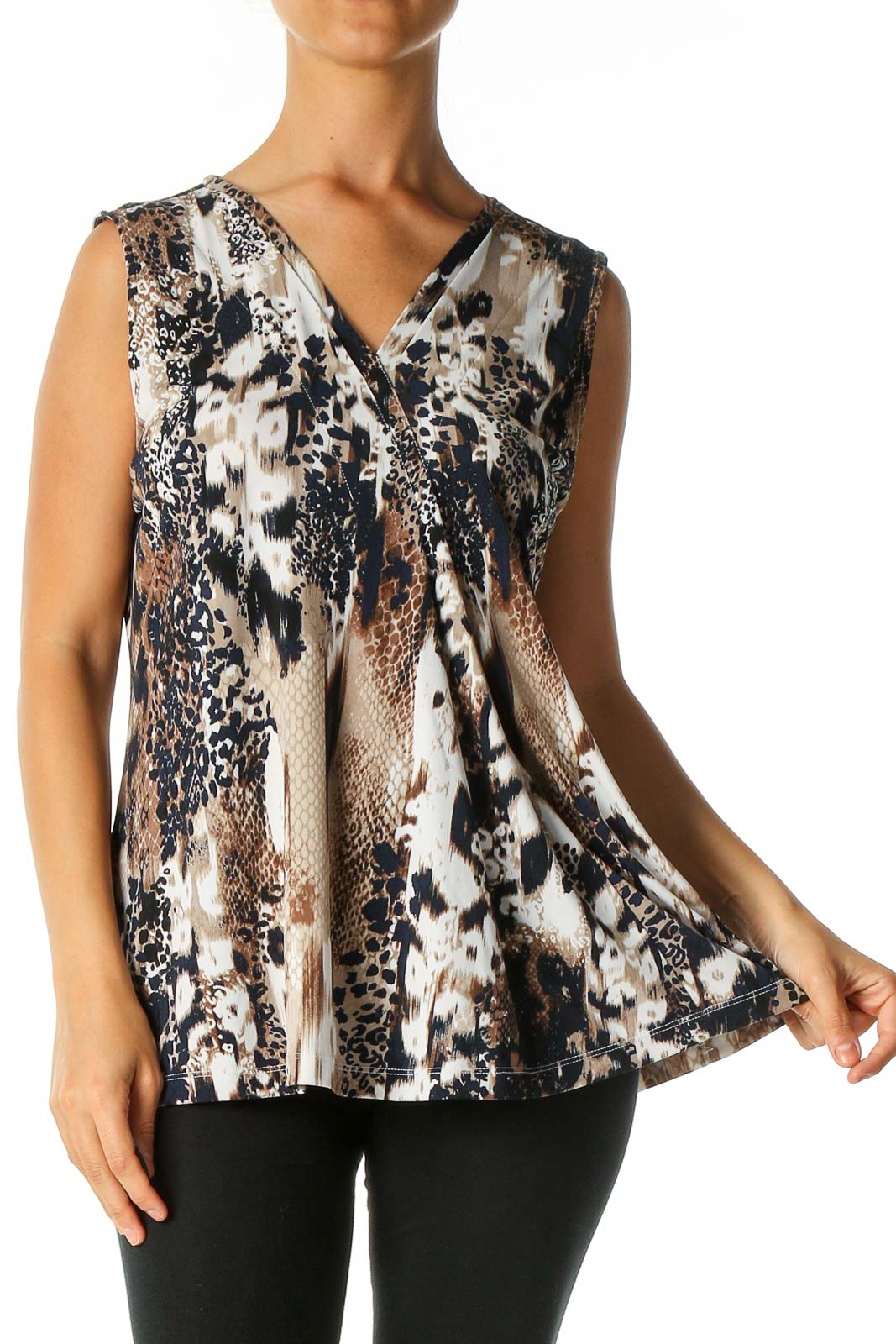 Brown Animal Print Casual Blouse Front