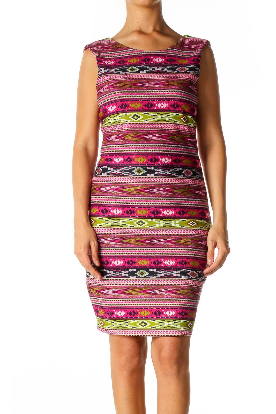 Pink Aztec Print Casual Sheath Dress Front
