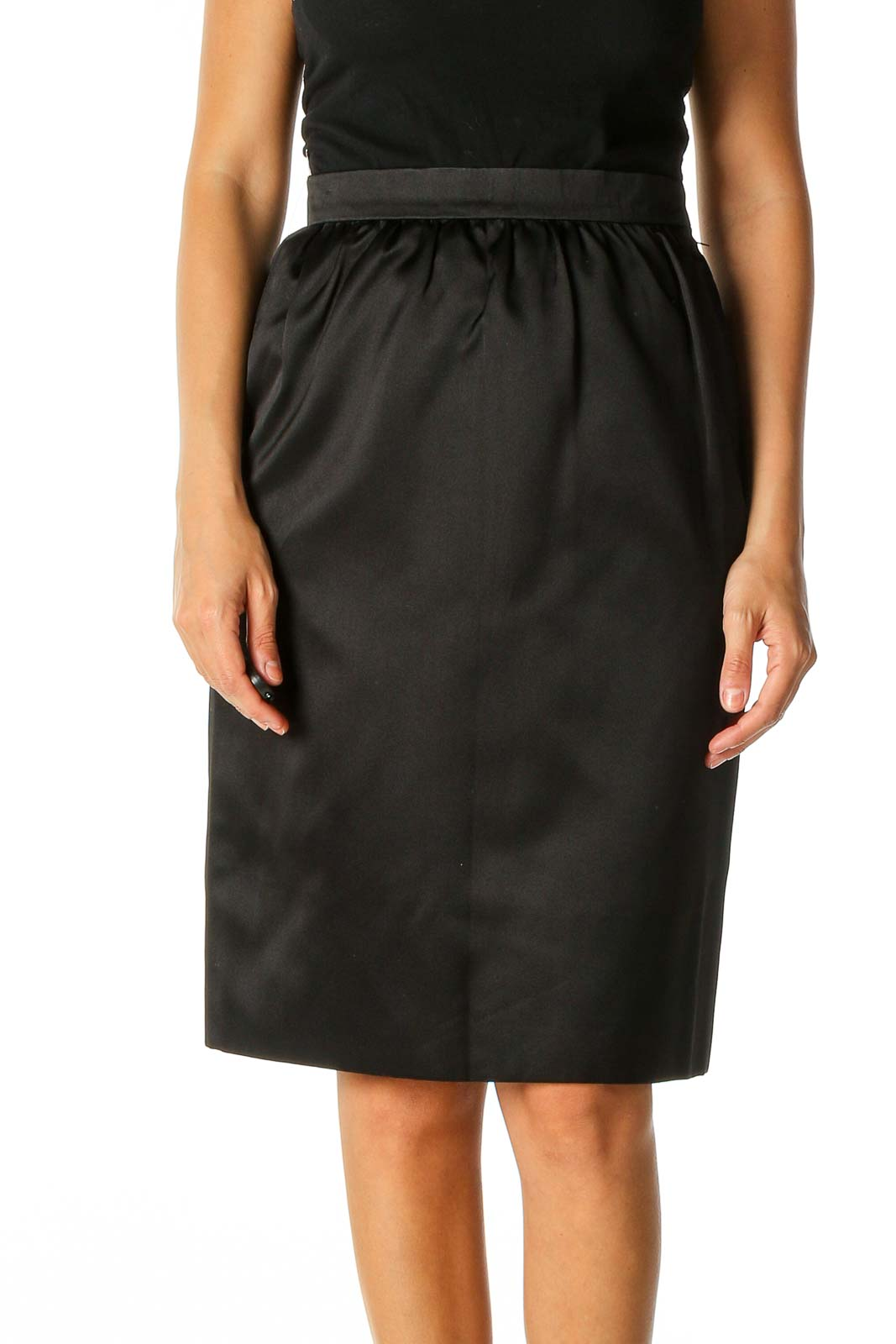 Black Solid Brunch Straight Skirt Front
