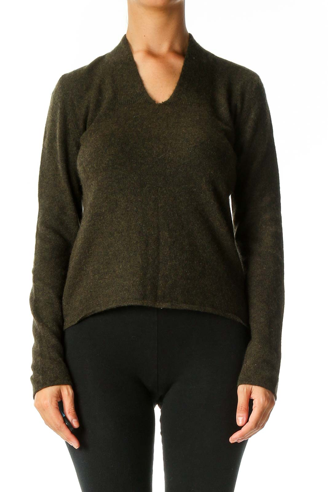 Green Textured Casual Sweater Front