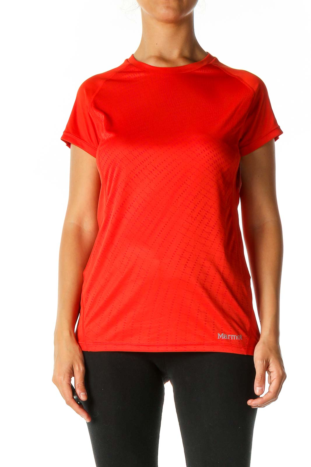 Red Solid Activewear T-Shirt Front