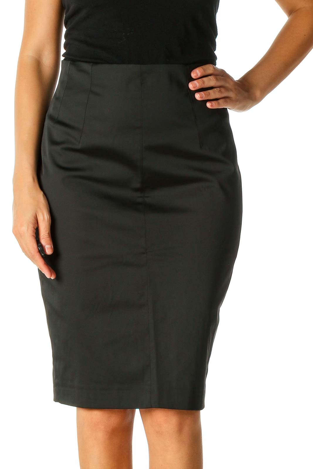 Black Solid Classic Pencil Skirt Front