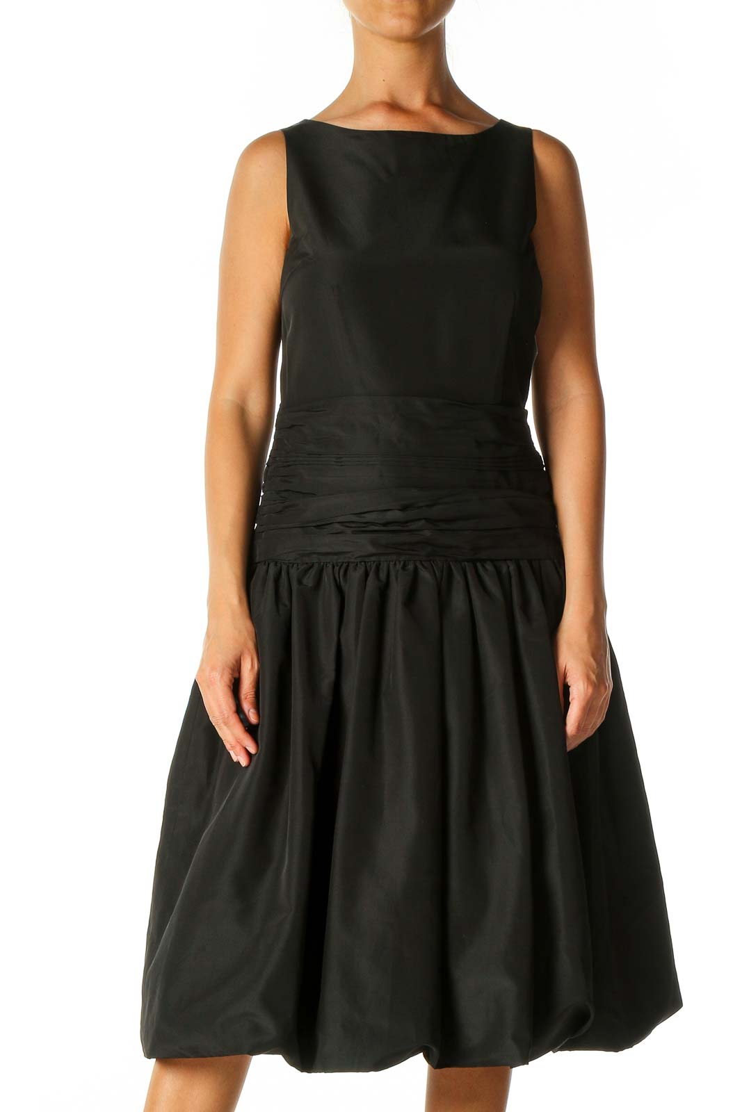 Black Solid Fit & Flare Dress Front