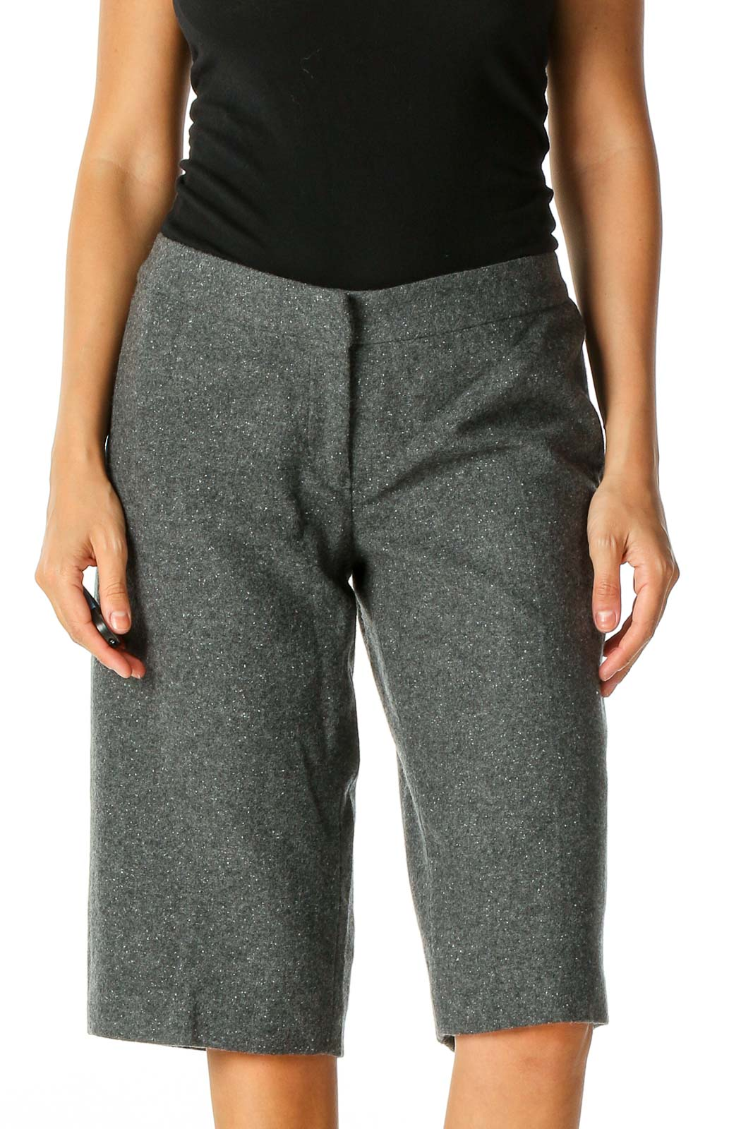 Gray Textured Casual Shorts Front