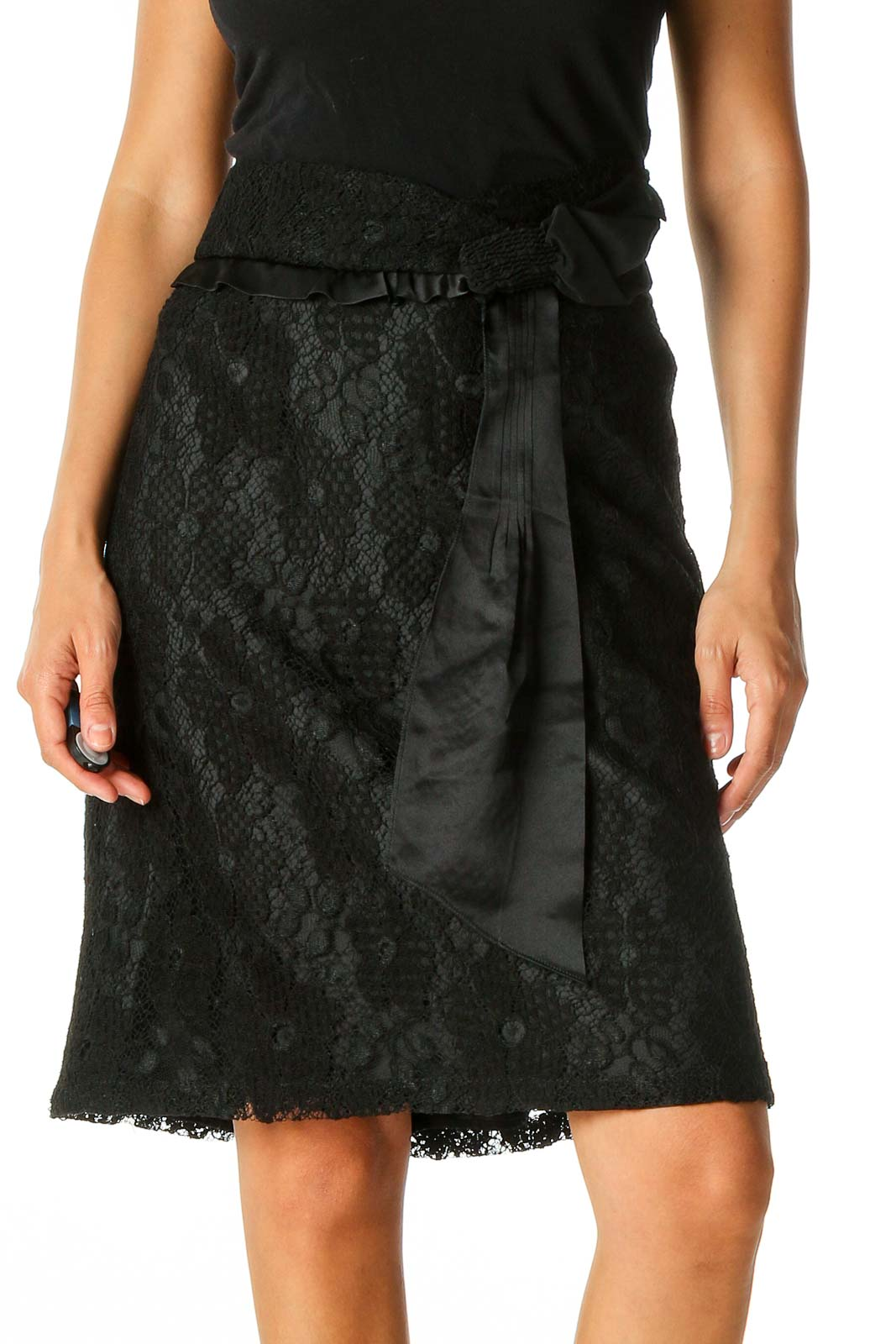 Black Casual Lace A-Line Skirt Front
