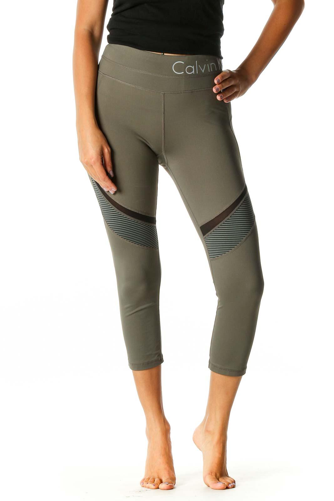 Green Colorblock Activewear Capri Leggings Front