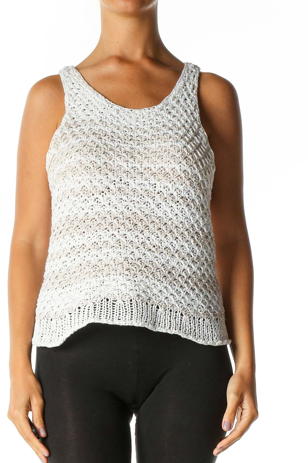 White Textured Casual Tank Top Front
