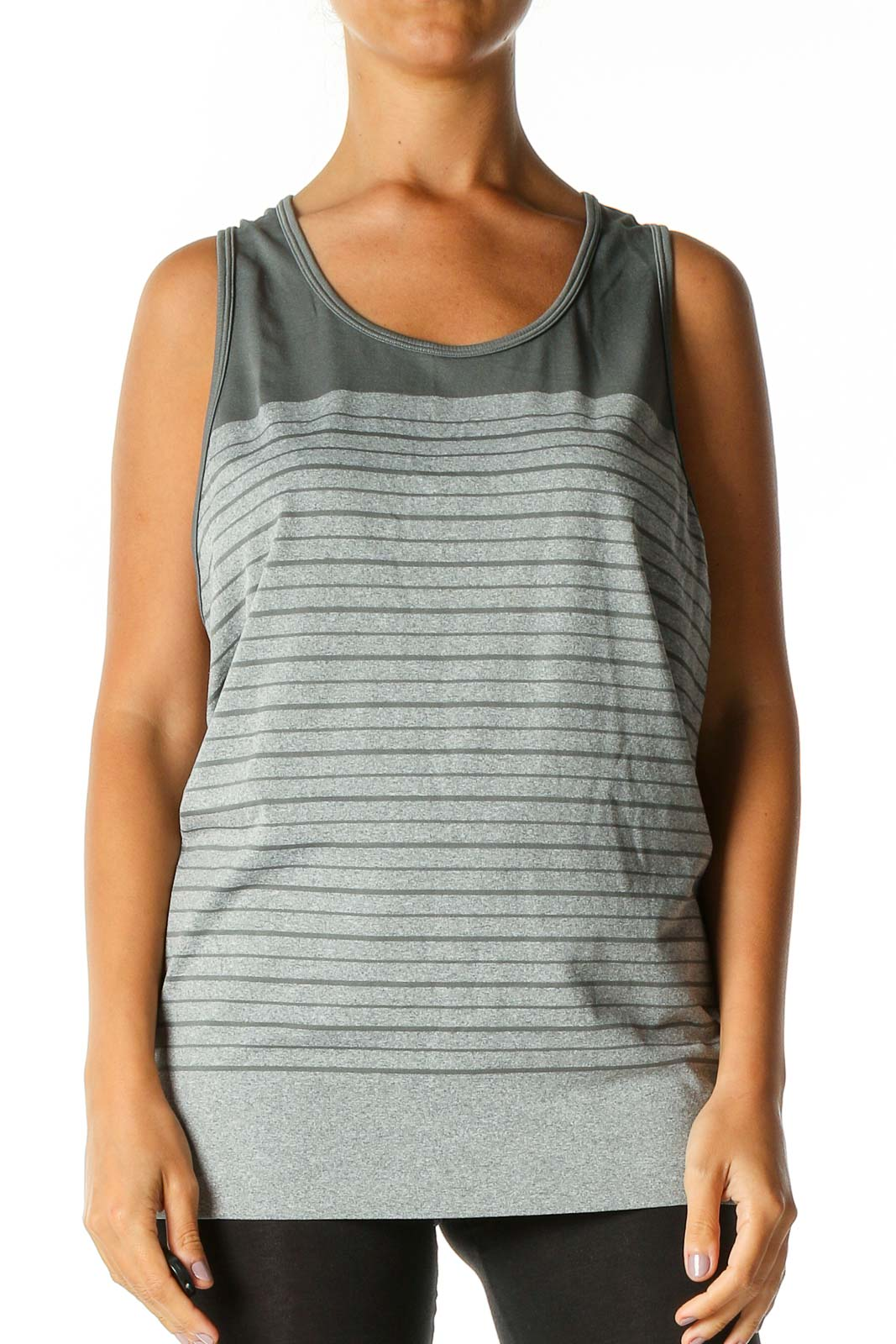 Gray Striped Activewear Tank Top Front