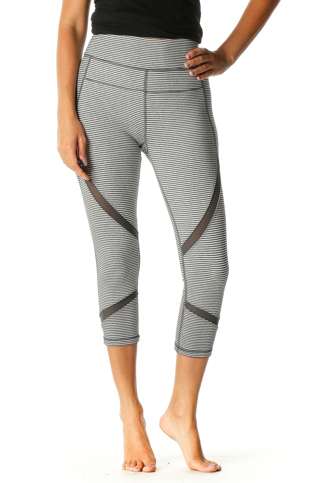 White Striped Activewear Leggings Front