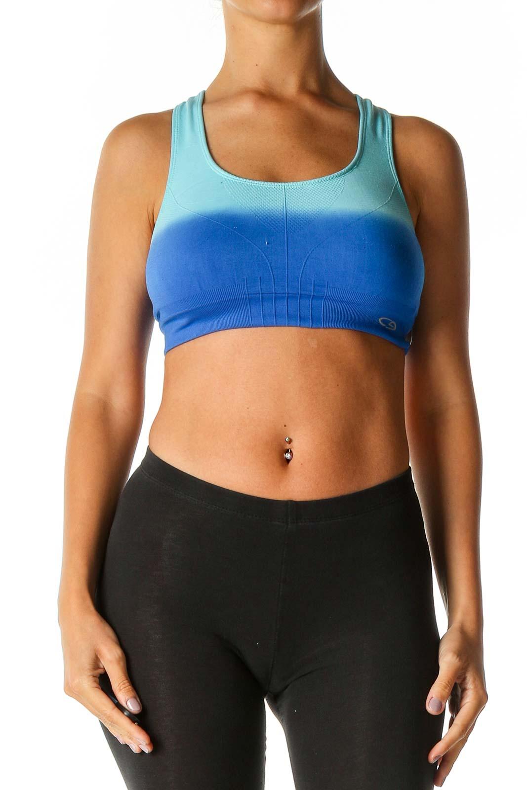 Blue Colorblock Activewear Top Front