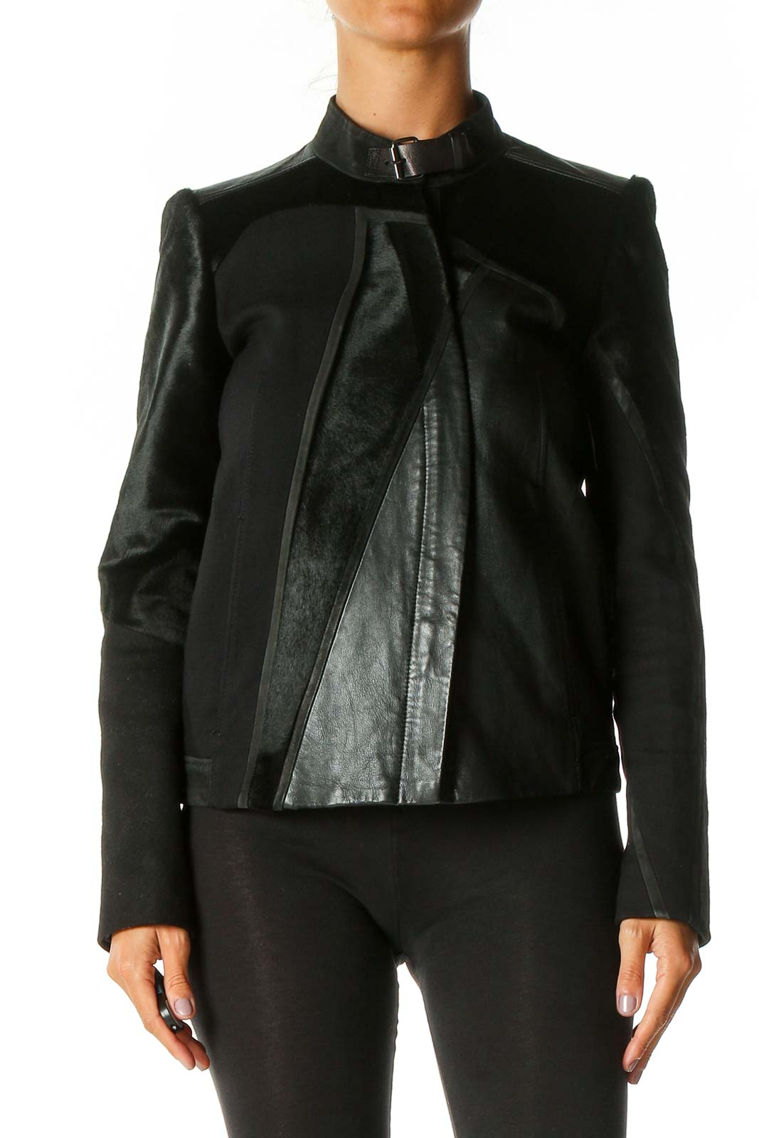 Black Motorcycle Jacket Front