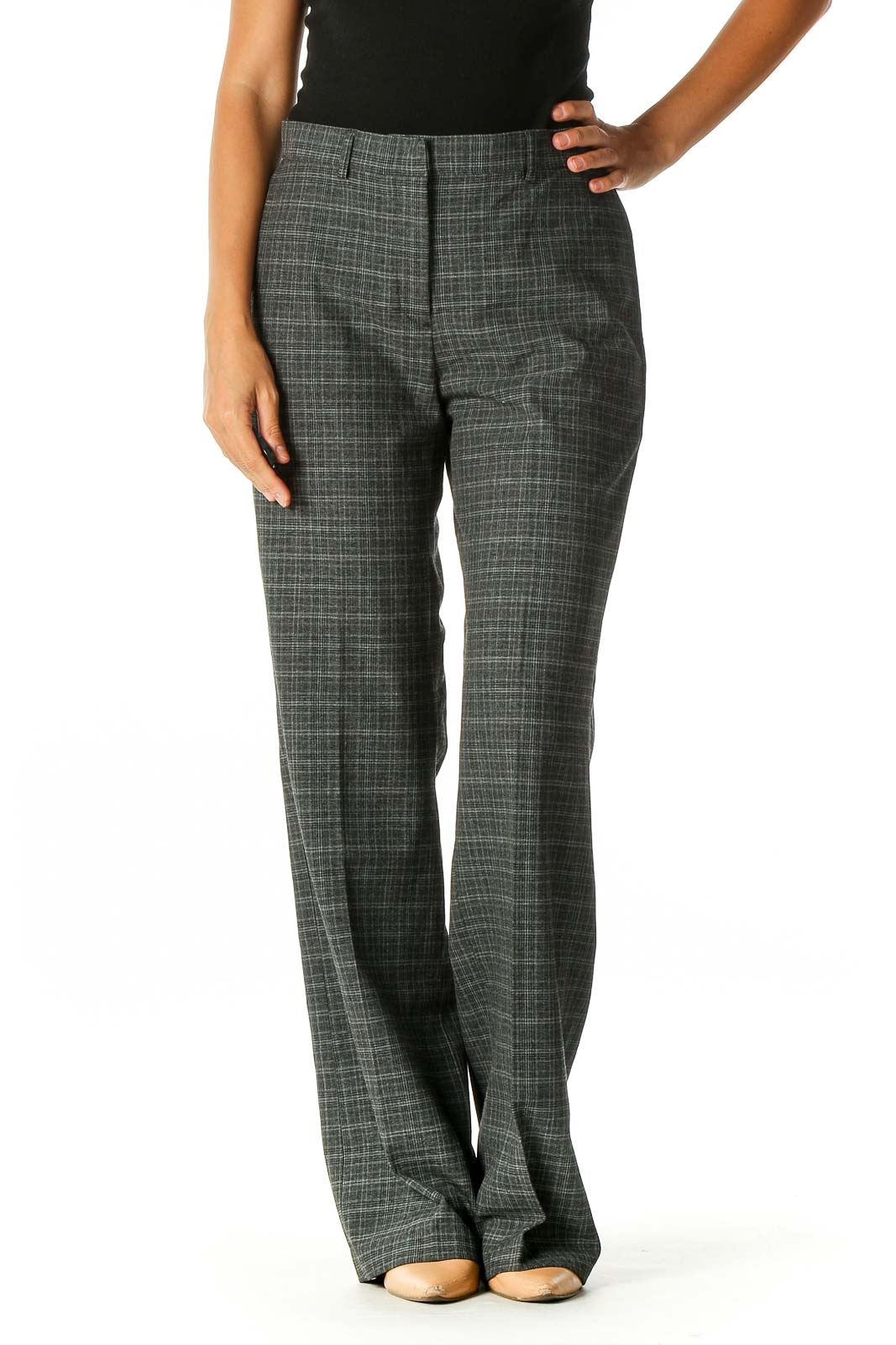 Gray Textured Retro Trousers Front