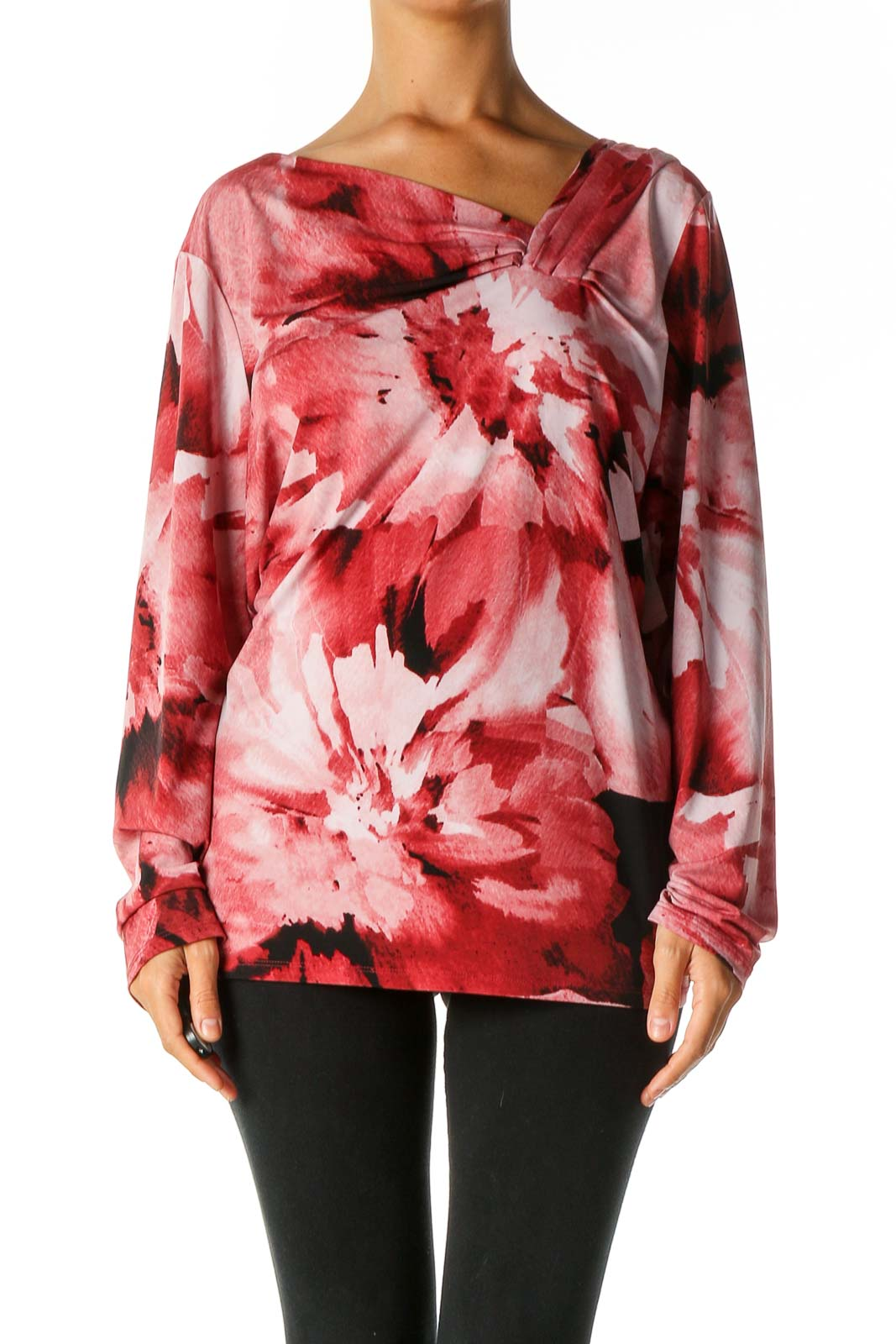 Red Floral Print Casual Blouse Front