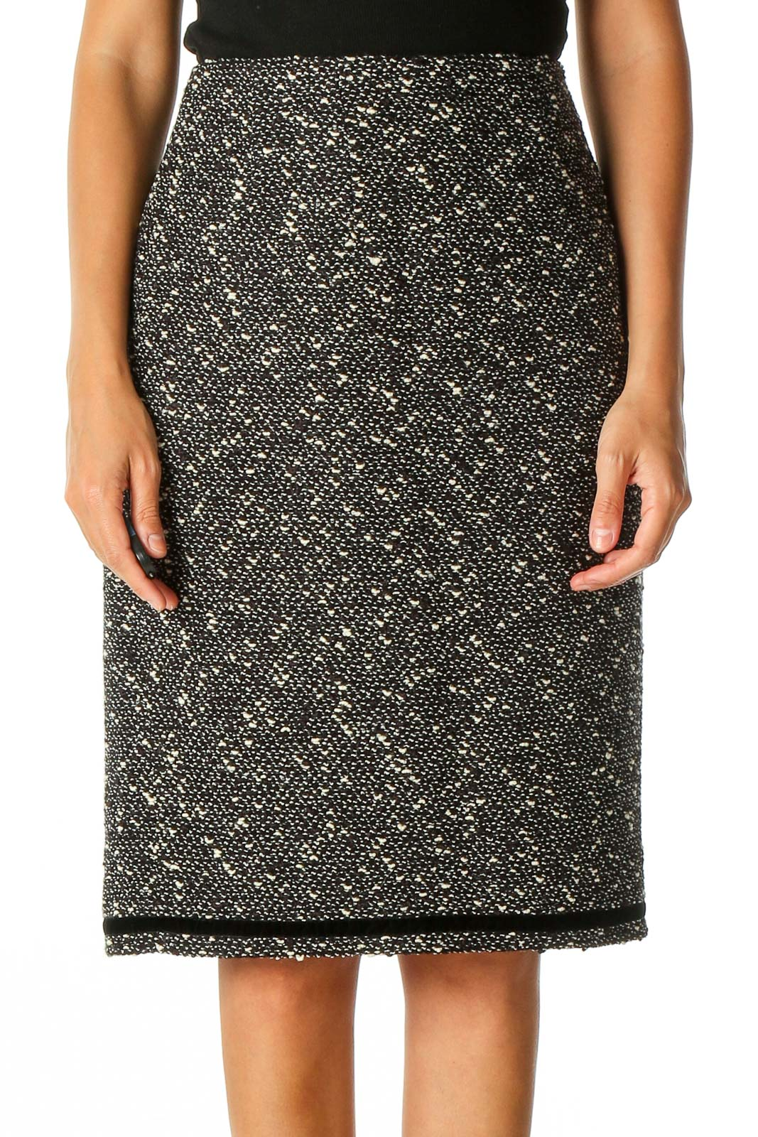 Black Textured Classic Straight Skirt Front