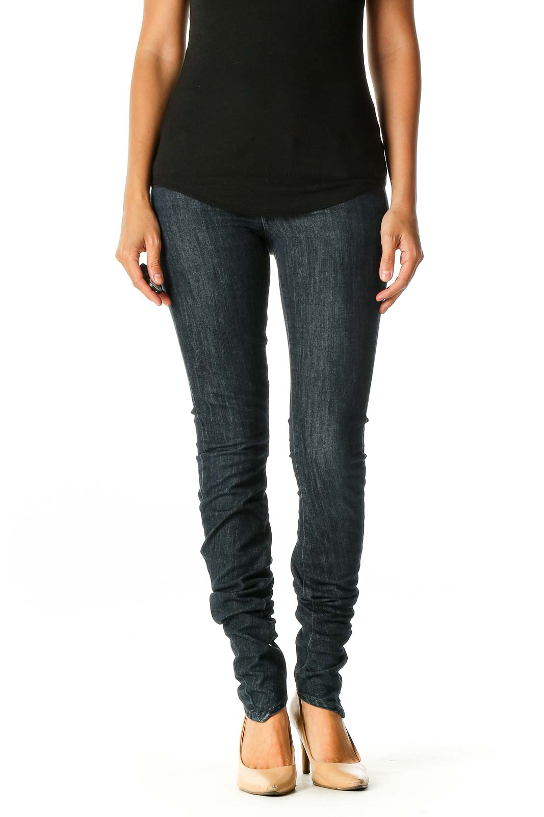 Black Casual Skinny Jeans Front
